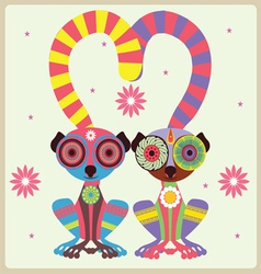 two lemurs in love vector image