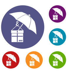Umbrella and a cardboard box icons set vector