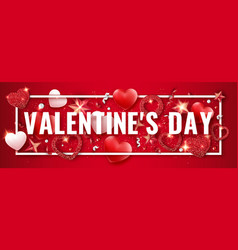 valentines day horizontal banner with shining red vector image