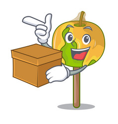 With box candy apple character cartoon vector