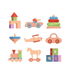 wooden toys vintage funny items for kids cars vector image