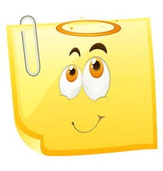 Yellow paper with happy face vector image