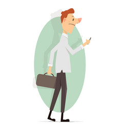 young man with a phone in his hand vector image