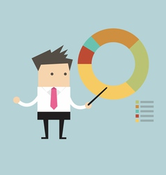 businessman points to chart vector image vector image