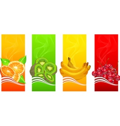 four coloured fruits background vector image vector image