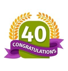 Happy fortieth birthday badge icon vector