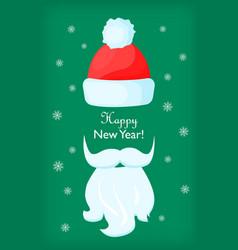 happy new year santa claus cap and white beard vector image