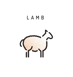 lamb lamb outline icon vector image vector image