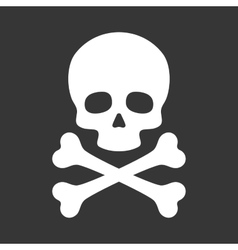 Skull with crossbones icon on black background vector