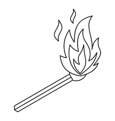 Burning match icon outline style vector image vector image