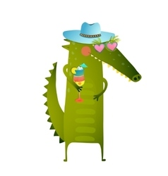 Funky Party Cocktail Crocodile Wearing Hat vector image