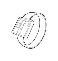 Smart watch icon outline style vector image