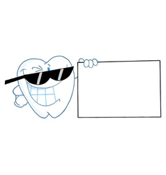 Smiling Tooth Character Presenting A Blank Sign vector image