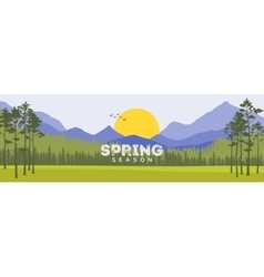 Spring Background Forest with Shining Sun Travel vector image