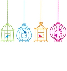 Birdcages with birds vector image vector image