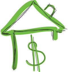 drawn colored green house with dollar sign vector image vector image