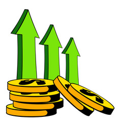 increase of cash income icon cartoon vector image vector image