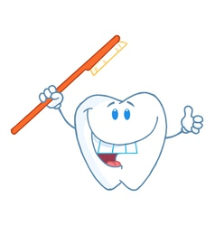 Smiling Tooth With Toothbrush vector image