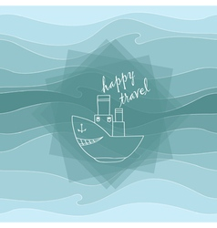 steamer and waves vector image vector image