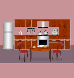 wooden kitchen interior banner for your web vector image vector image