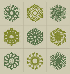 abstract hexagon emblems set vector image vector image