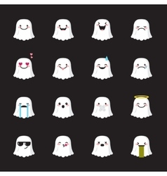 ghost emoji set Funny halloween emoticons vector image vector image