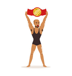 muscularity wrestler in tricot holding vector image vector image