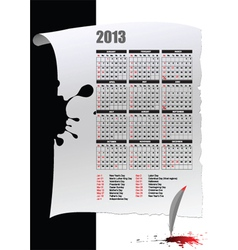 Retro calendar for 2013 vector image