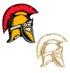 set of the spartan helmets isolated on white vector image