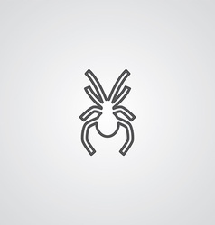 spider outline symbol dark on white background vector image vector image