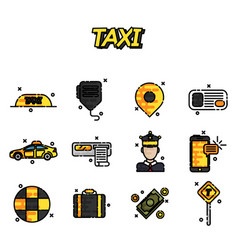 taxi flat concept icons vector image