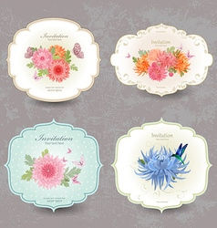 vintage collection label cards with chrysanthemum vector image vector image