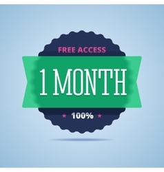 1 month free access badge vector