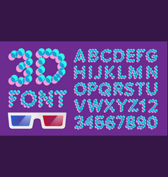 3d font pixel digital holographic font vector image