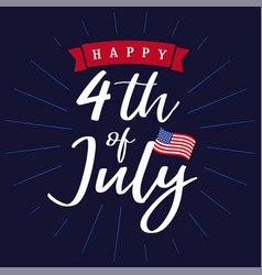 4 july independence day usa lettering navy blue vector image