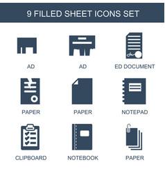 9 sheet icons vector