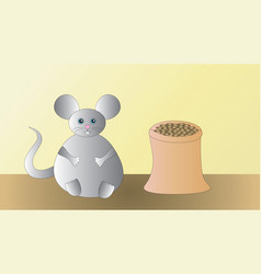 A satisfied happy gray mouse after dinner vector