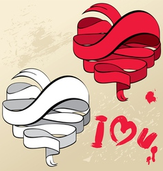 Abstract ribbons in heart shapes - design elements vector image