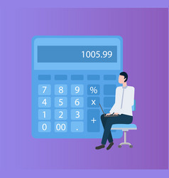 accountant doing electronic counting laptop vector image