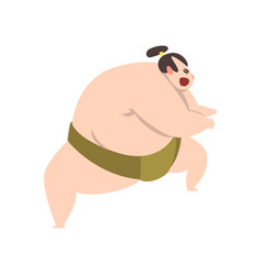 Angry sumo wrestler character japanese martial vector