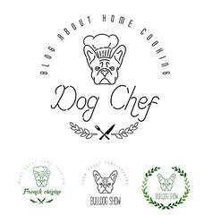 Animals badge bulldog canine care caricature vector