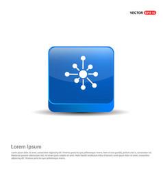 atom physics symbol - 3d blue button vector image