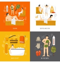 Bath Sauna Spa 4 Flat Icons vector