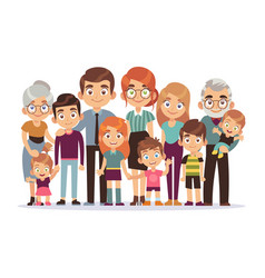 Big family portrait happy people character vector