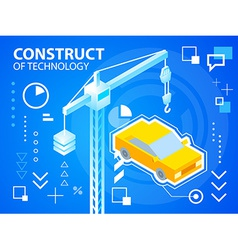 Bright construct crine and car on blue backg vector