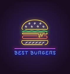 burger neon banner vector image