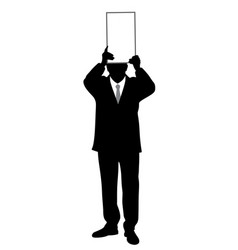 businessman holding blank board above his head vector image