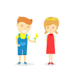 cartoon character of boy and girl in loving vector image