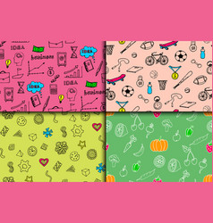 Cartoon doodles hand drawn style seamless pattern vector