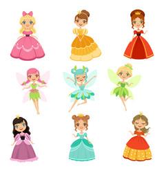 Cartoon funny fantasy princesses in different vector